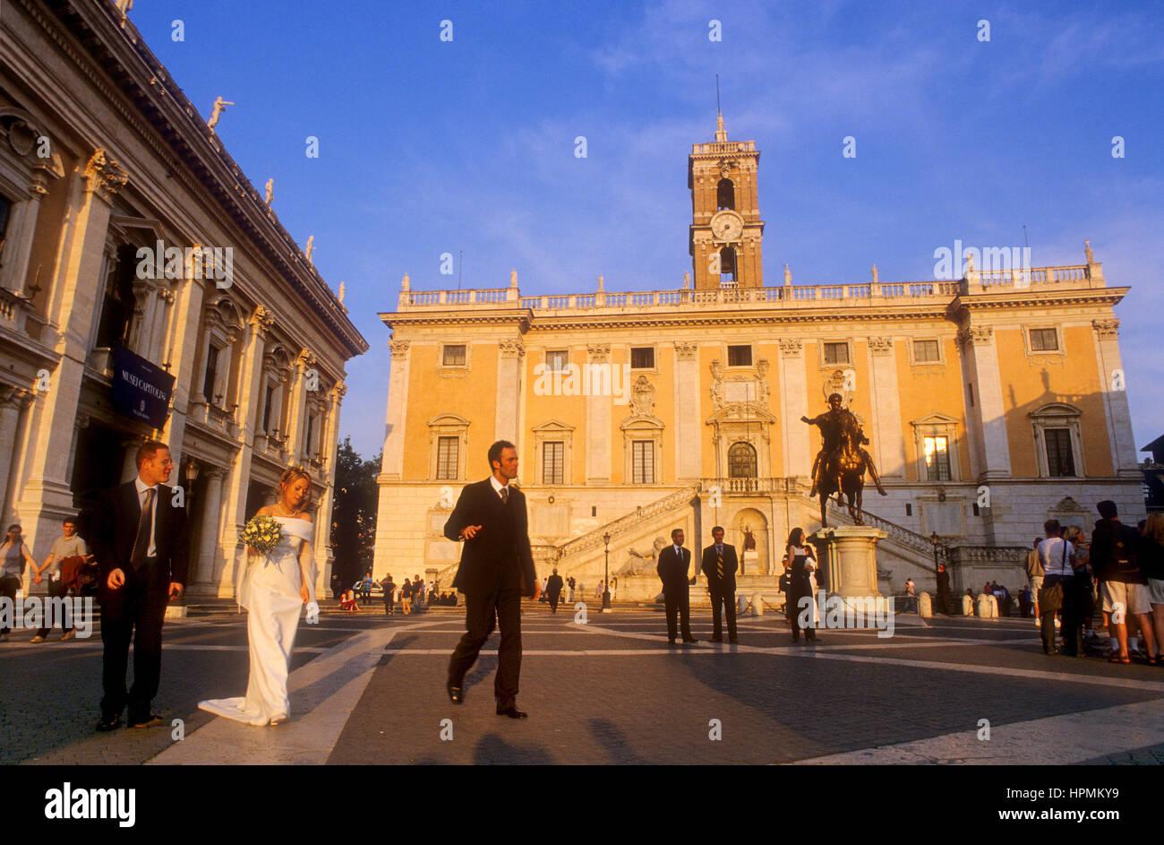Piazza Del Campidoglio By Michelangelo, And Palazzo Senatorio, Rome, Italy