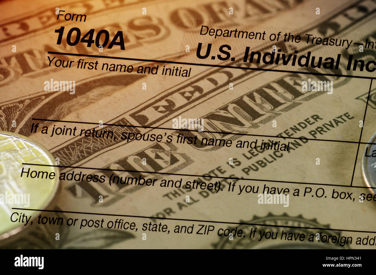 Double Exposure US Tax Form  With Dollar And Coin Tax Form - Us zip code no tax