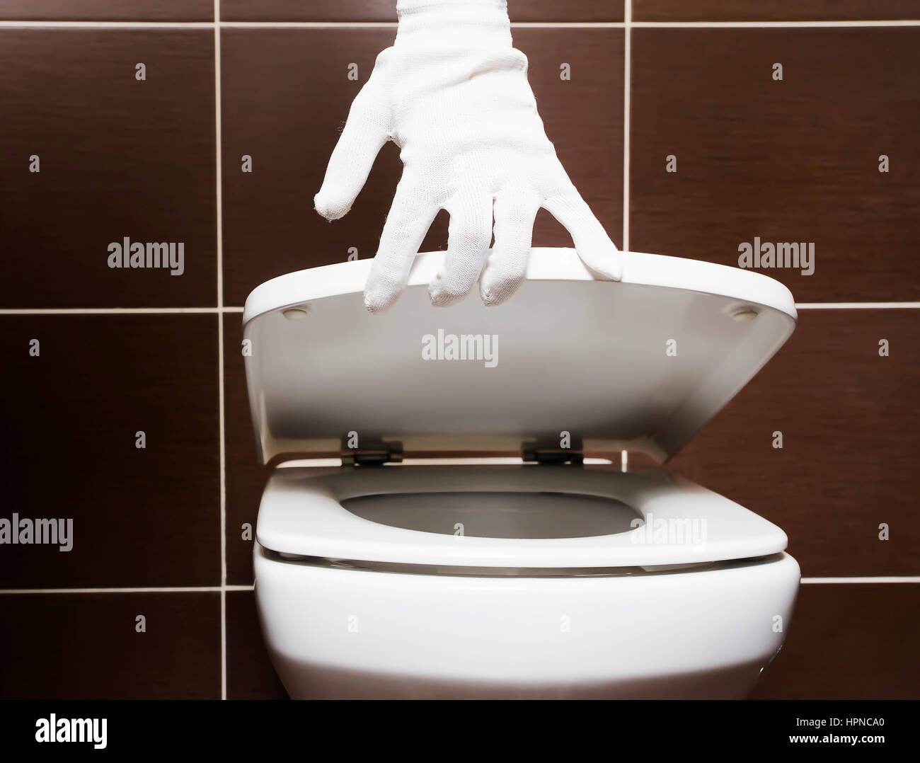 white clean toilet with open seat cover after repairs stock photo royalty free image 134465688. Black Bedroom Furniture Sets. Home Design Ideas