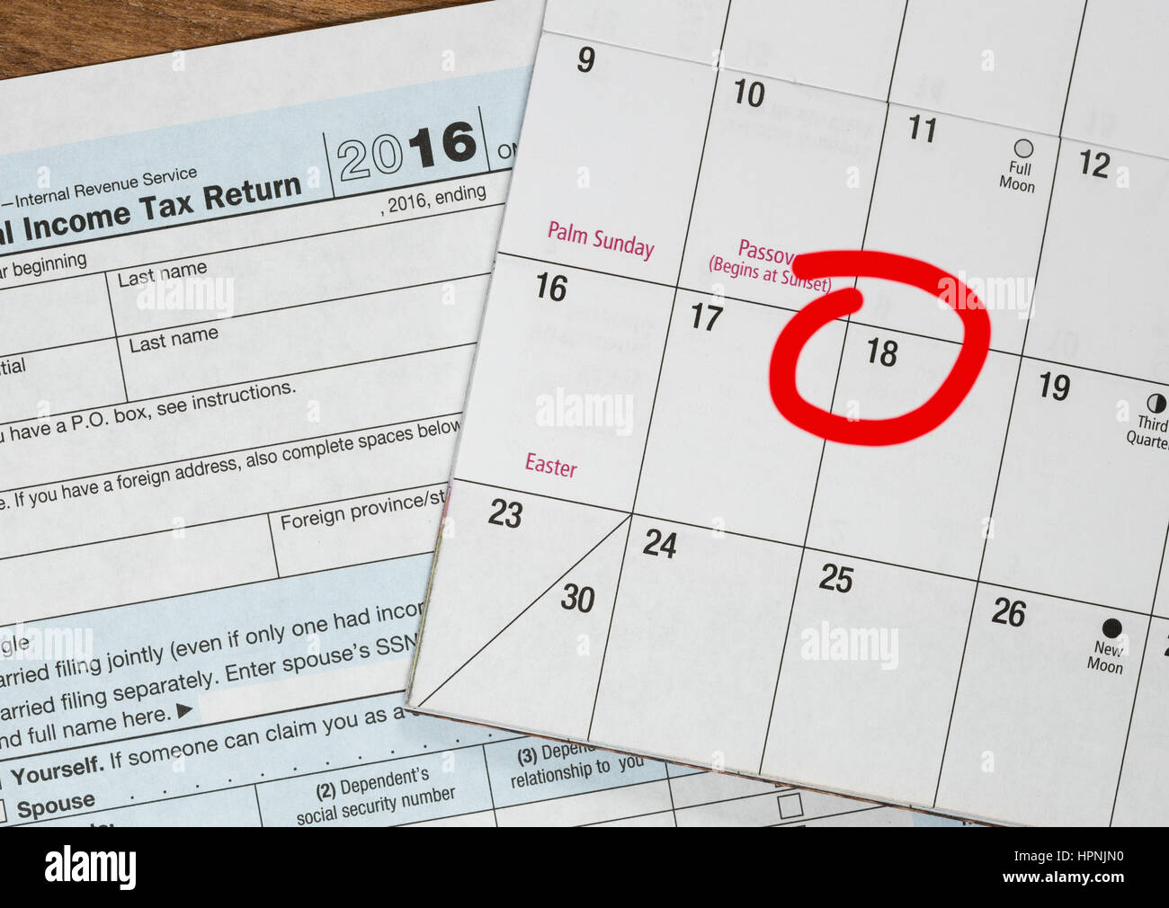 Calendar on top of form 1040 income tax form for 2016 showing tax calendar on top of form 1040 income tax form for 2016 showing tax day for filing is april 18 2017 falaconquin