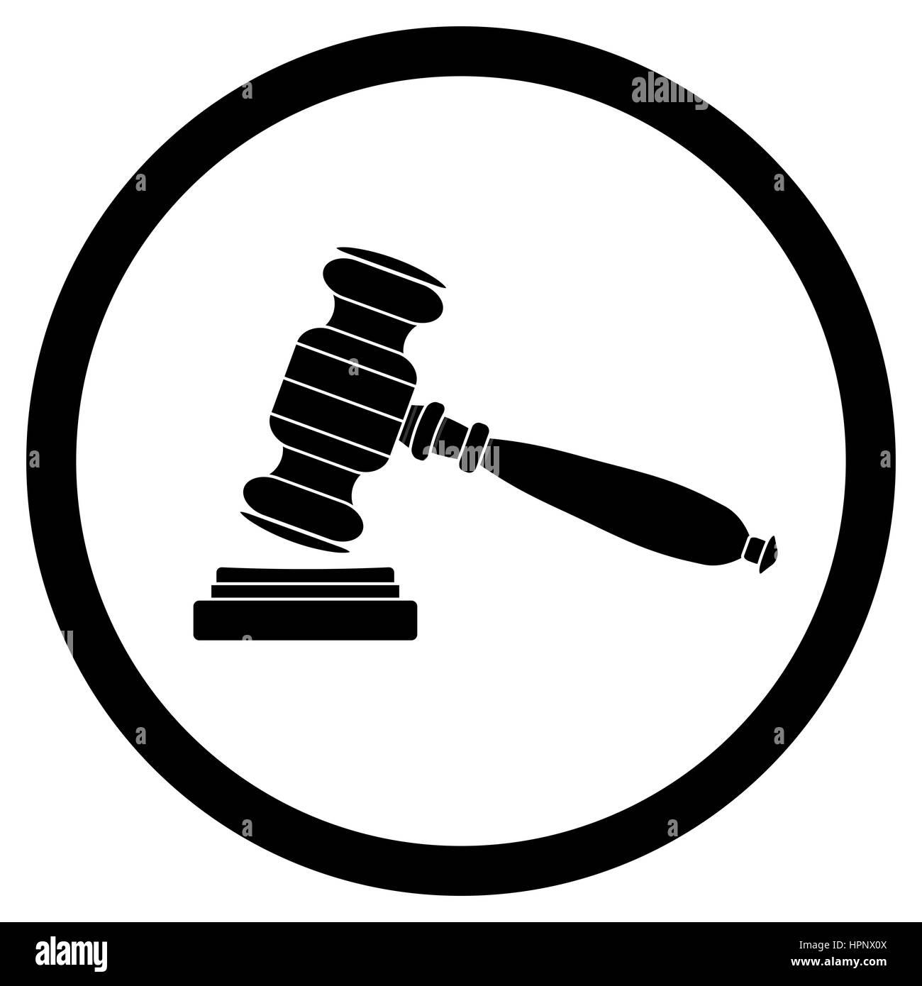 Gavel icon black. Hammer for verdict legislation. Vector ...