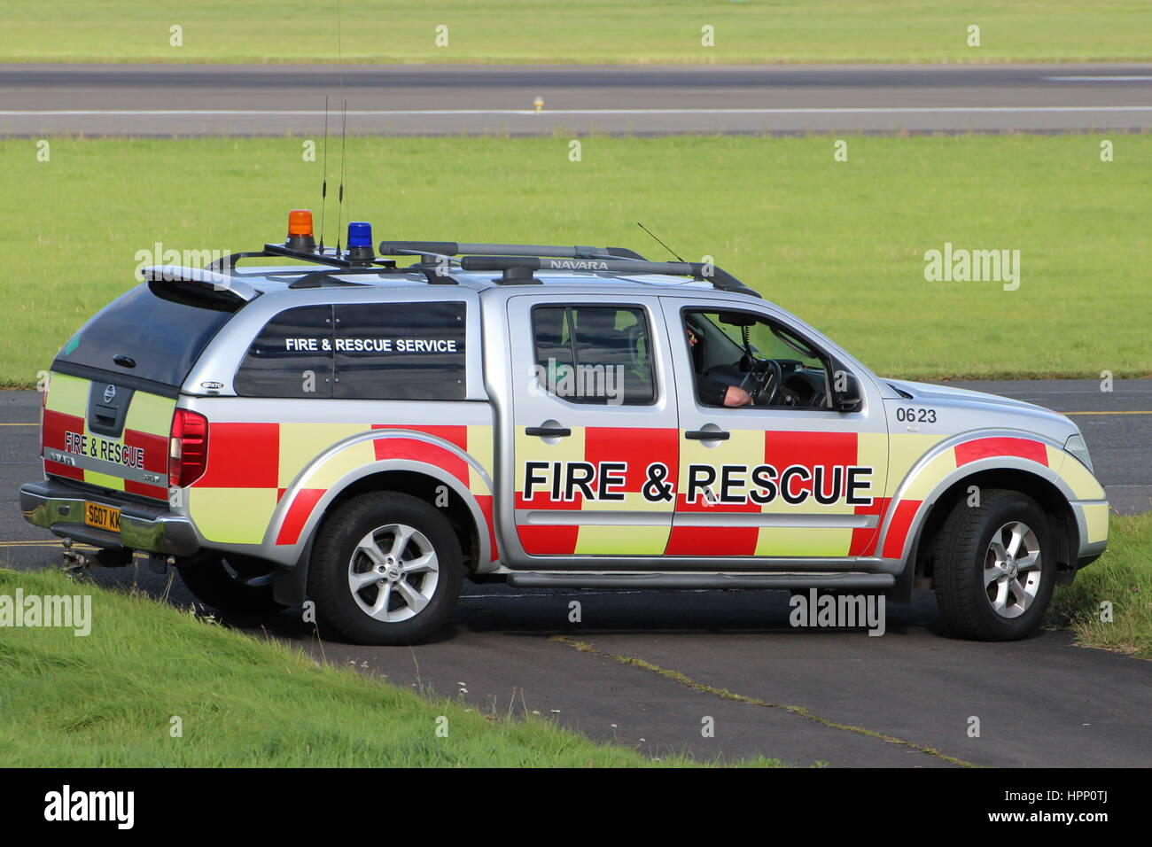 A nissan navara outlaw of the airfield fire rescue service at prestwick international airport