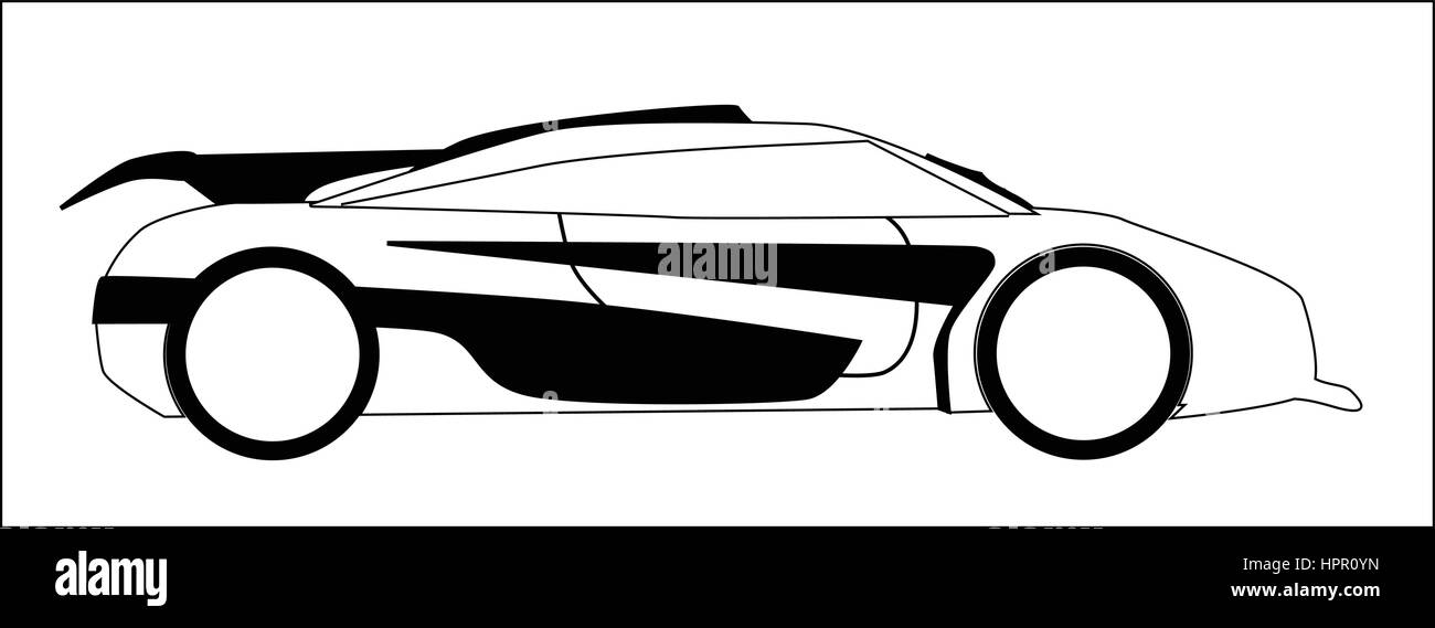 A Fast Car In Outline And Isolated On A White Backgound Stock