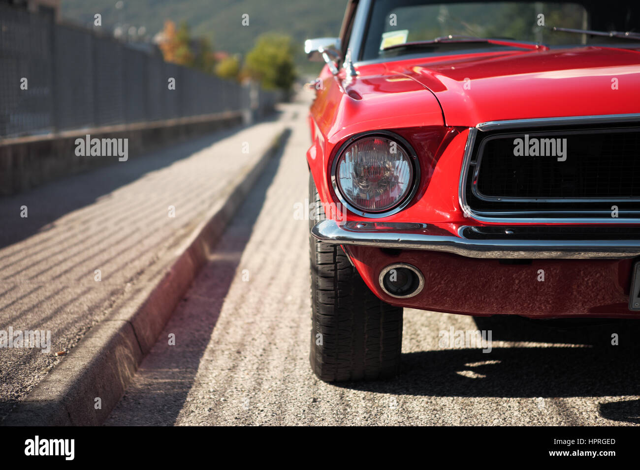 American muscle car convertible on the road, cropped image Stock ...