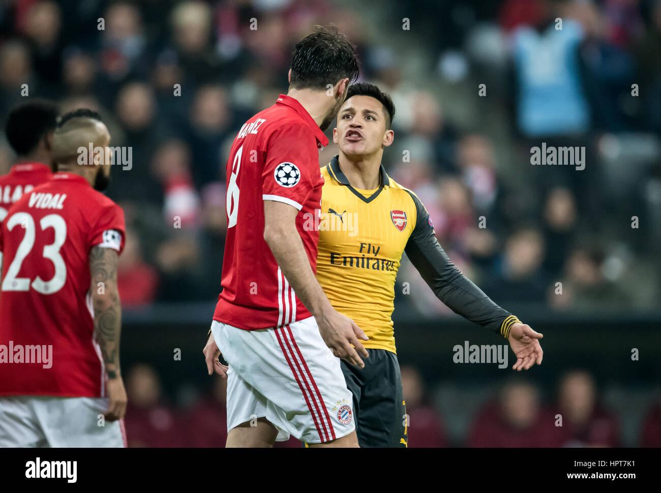 Munich Germany 15th Feb 2017 Munich s Javi Martinez red and