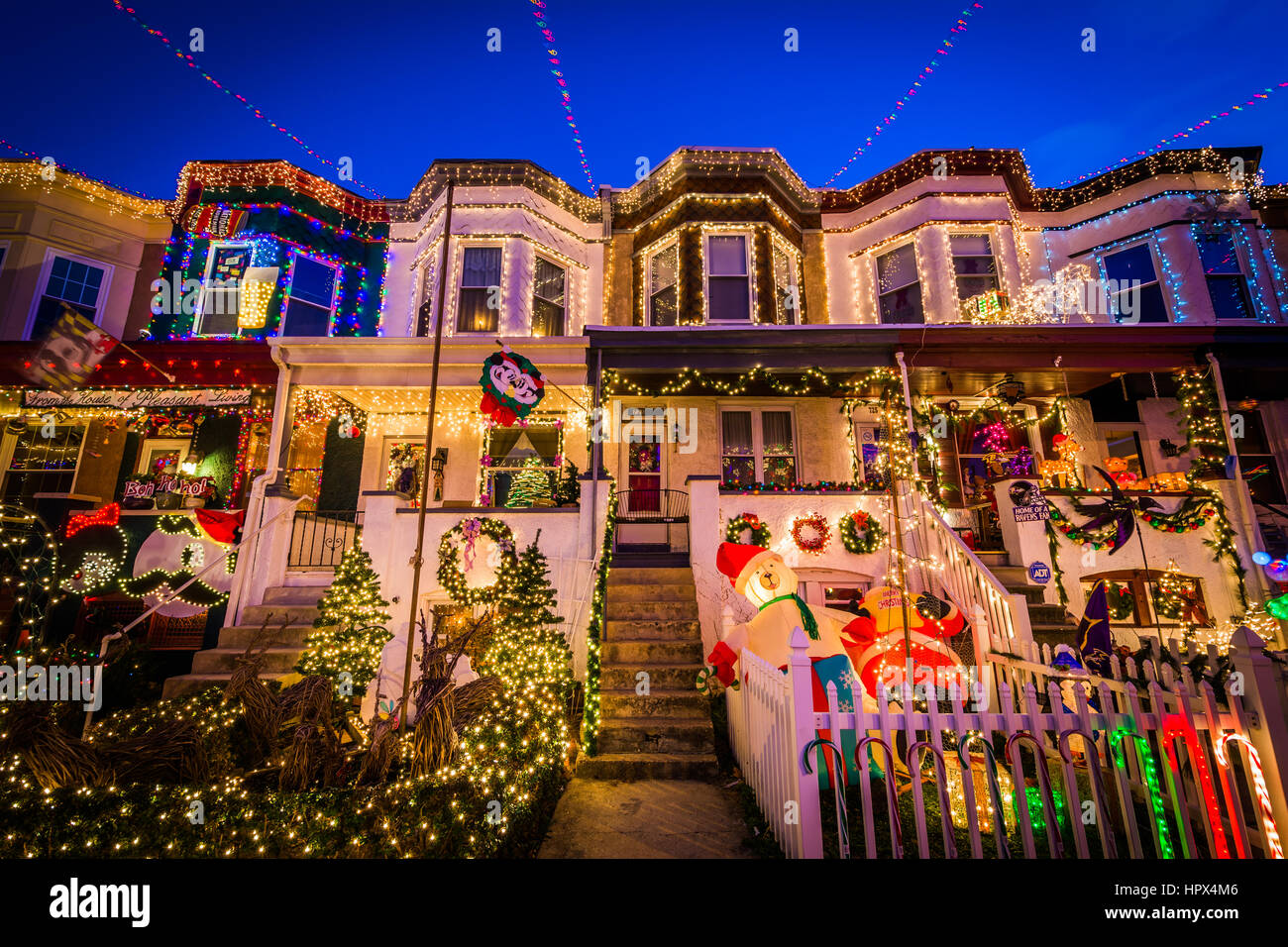 stock photo the miracle on 34th street christmas lights at night in hampden baltimore maryland - Christmas Lights Maryland