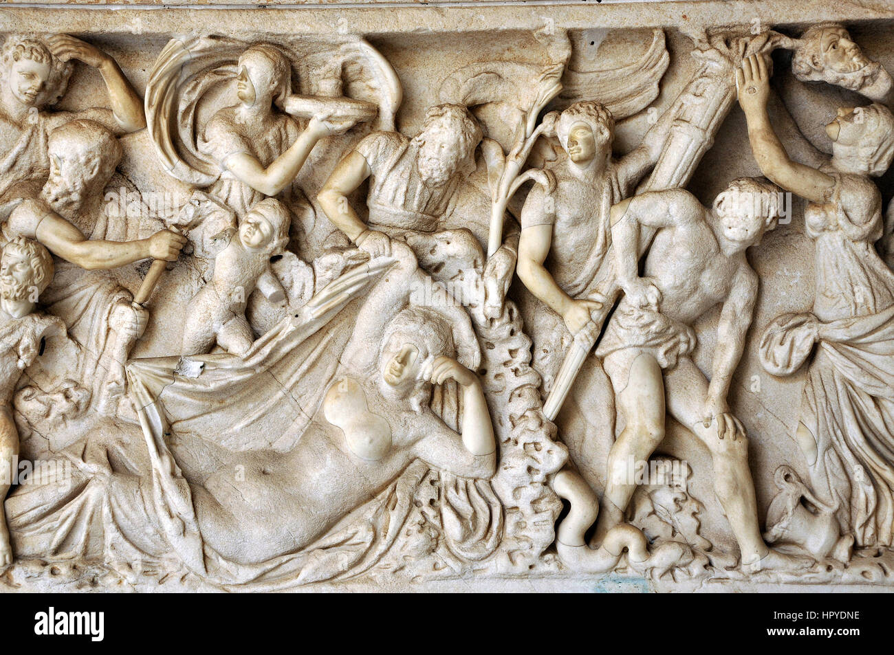 Bas-relief and sculpture details in stone of Roman Gods and ...