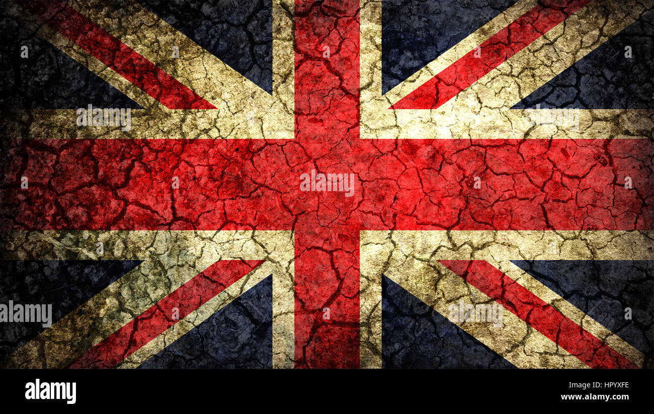 great britain flag on old background retro effect close up stock
