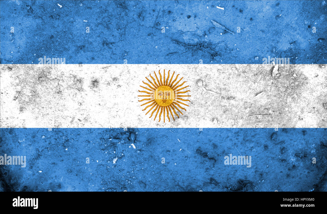 Argentina flag in the old retro background effect, close up Stock ...