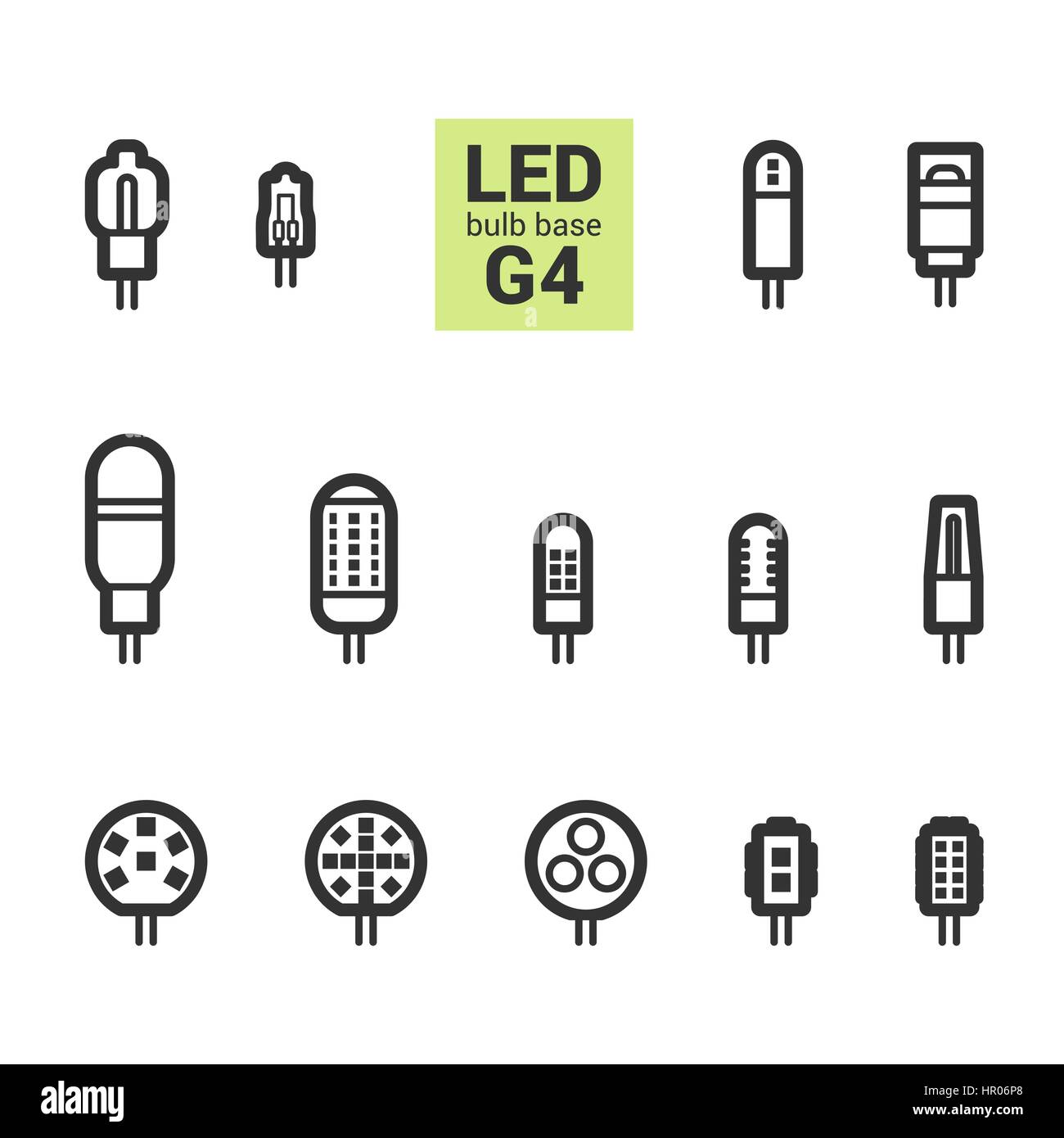 Led light bulbs with g4 base vector outline icon set on white led light bulbs with g4 base vector outline icon set on white background biocorpaavc Images
