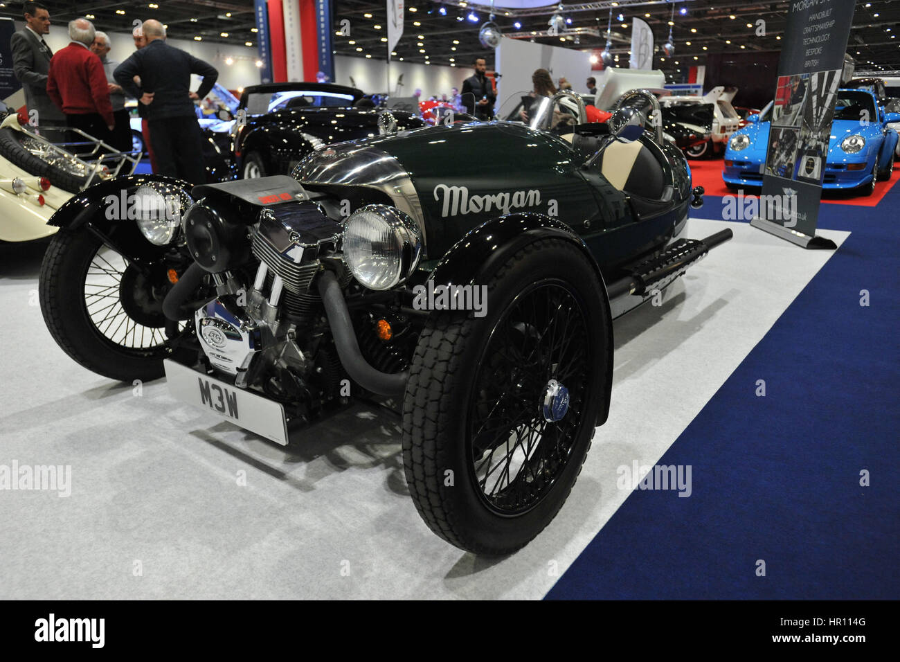 A Morgan 3 Wheeler On Display At The London Classic Car Show Which