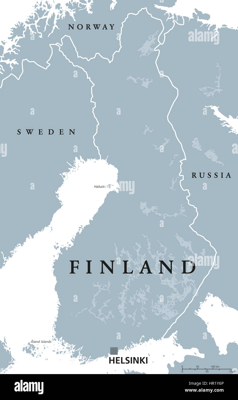 Finland Political Map With Capital Helsinki National Borders And - Aland islands political map