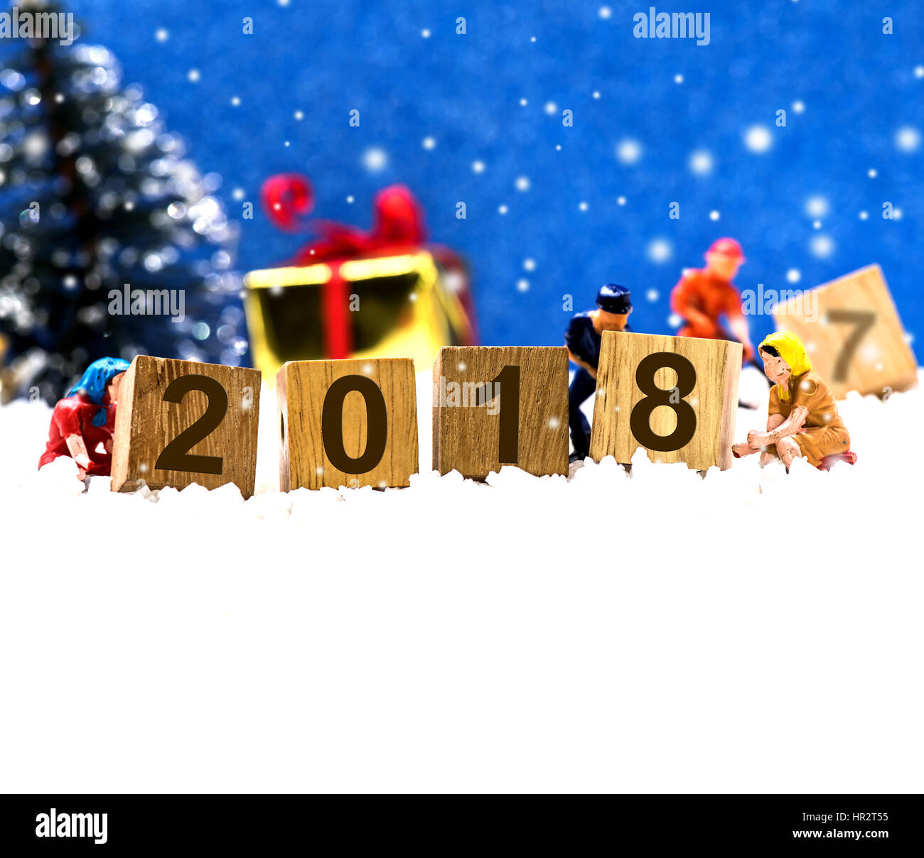Merry Christmas and Happy New Year 2018, winter season Stock Photo ...