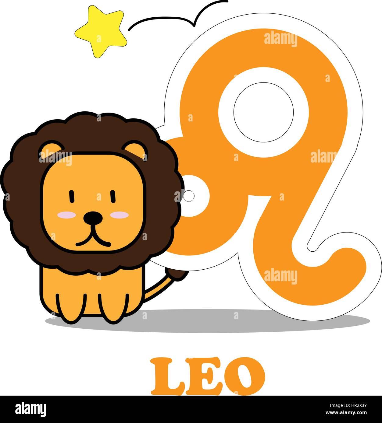 Leo zodiac star sign stock photos leo zodiac star sign stock leo cartoon with big zodiac sign icon vector isolated on white background stock image buycottarizona Image collections