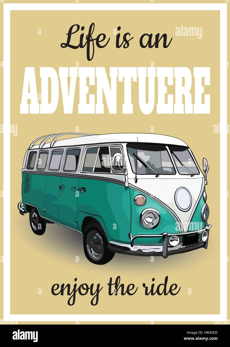 Vector Illustration Of Vintage Posters Retro A Minibus For Trav