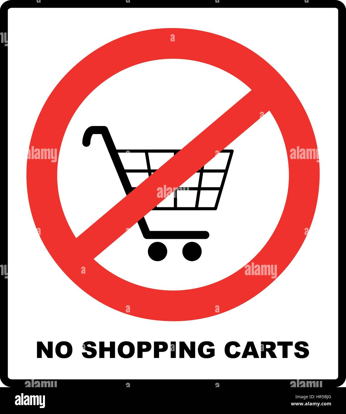 No shopping cart sign vector illustration prohibition symbol in no shopping cart sign vector illustration prohibition symbol in red circle isolated on white warning banner for public places buycottarizona Image collections