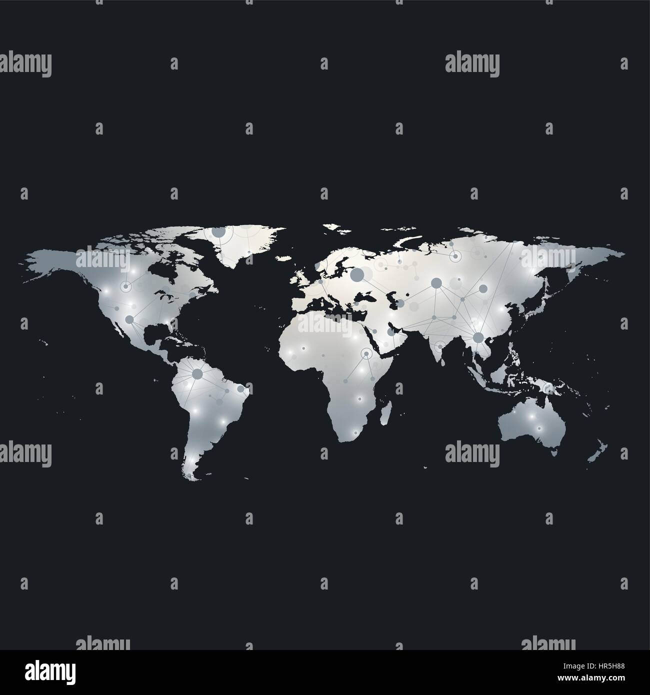 Political World Map With Global Technology Networking Concept - Big black and white world map