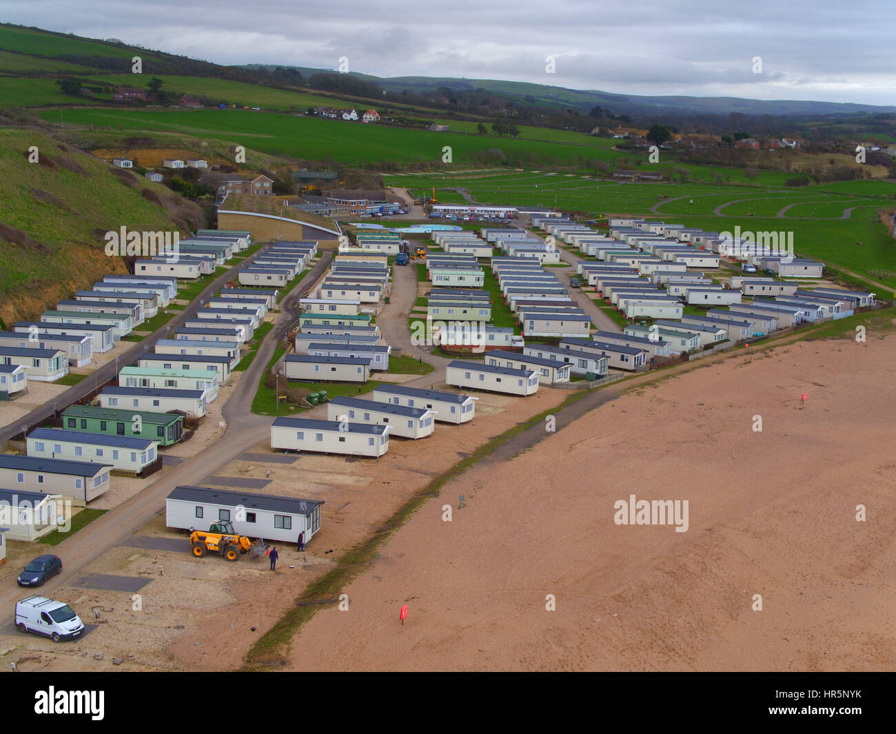 An Aerial View Of Caravans At The Freshwater Beach Holiday Park Near West Bay Dorset