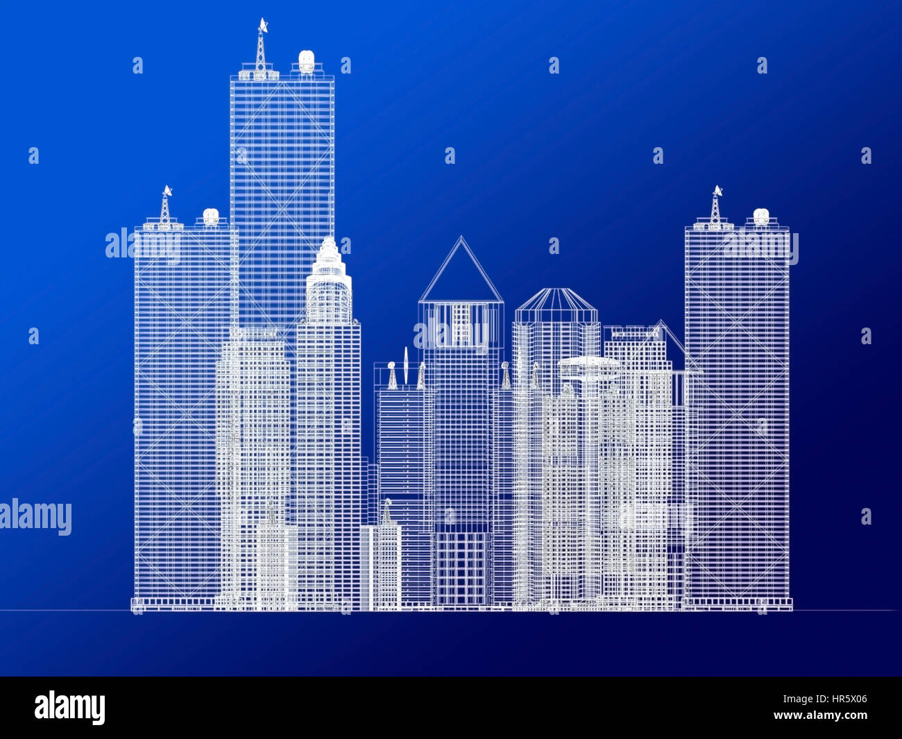 Architecture Blueprint Of Corporate Buildings Over A Blue Background
