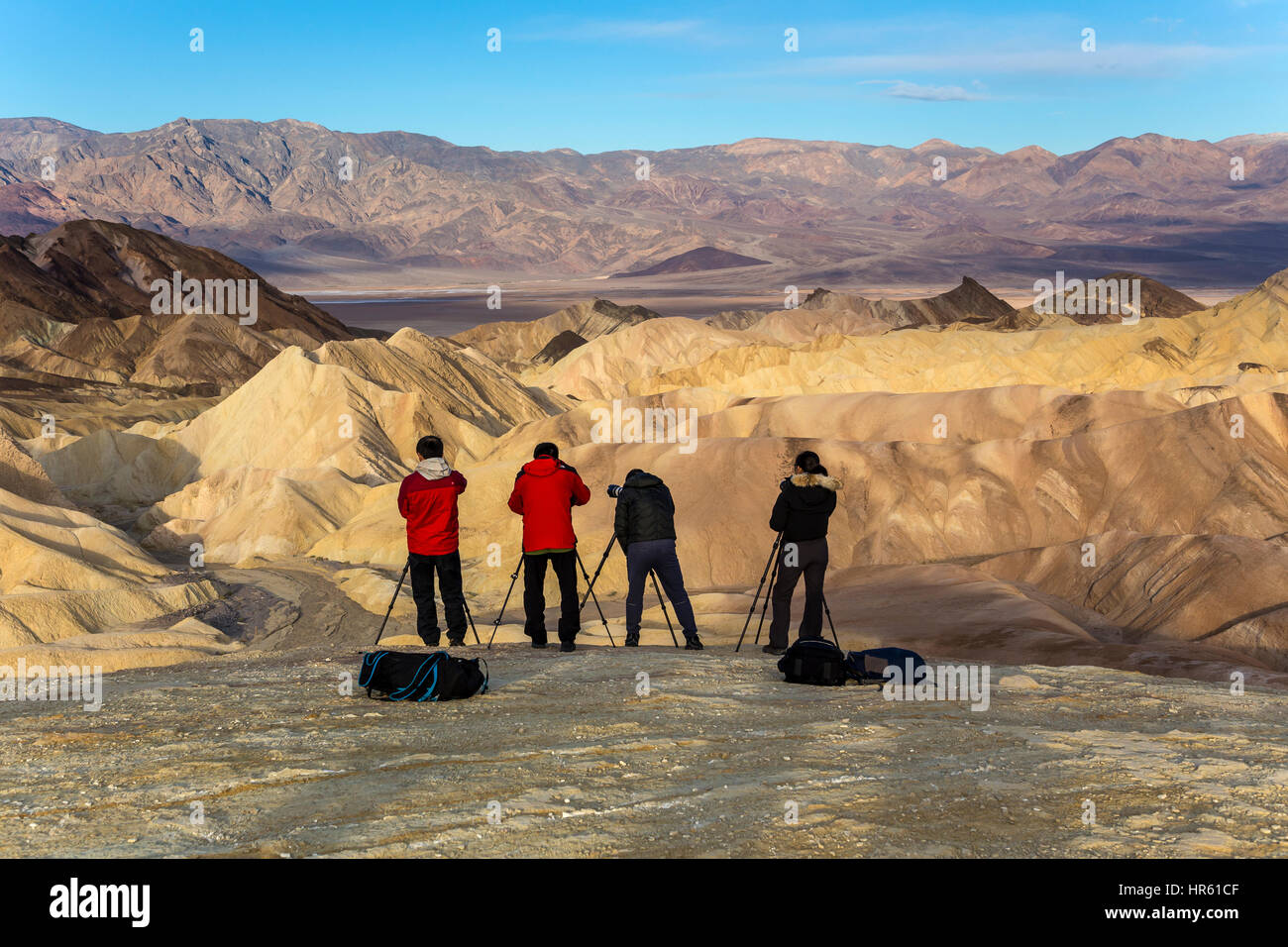 Photographers Tourists Zabriskie Viewpoint Zabriskie Point Death Valley National Park Death Valley California United States North America