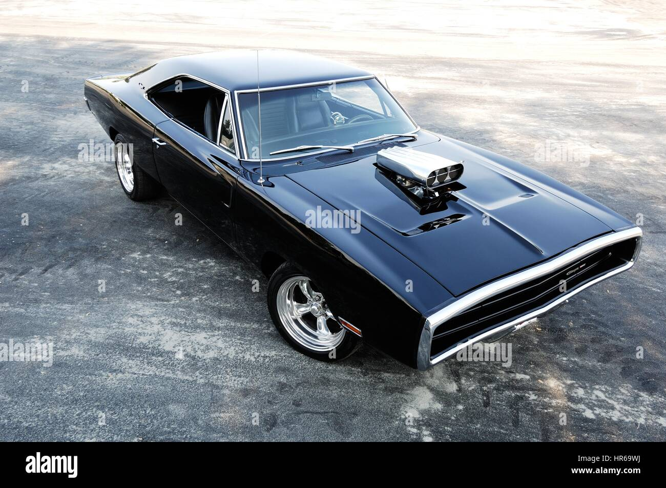 Dodge charger 1970 muscle car classic cars american with air intake on the hood stock