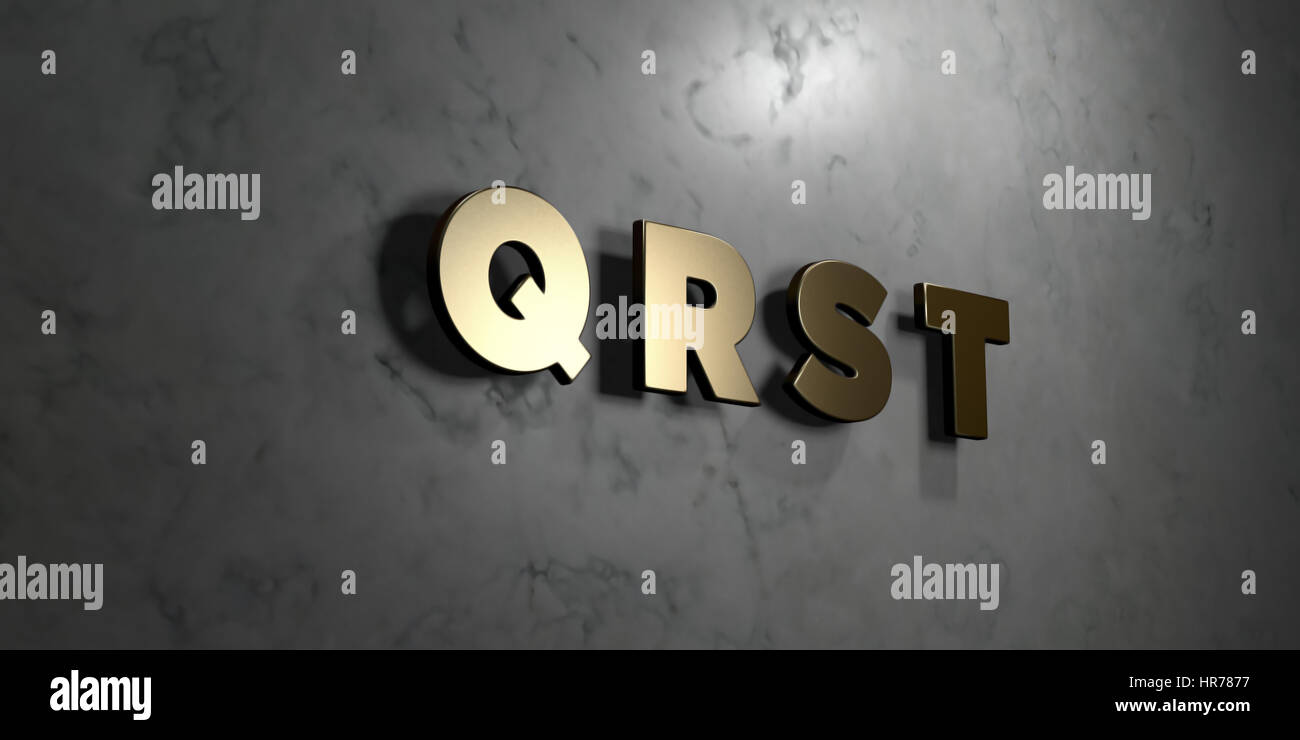Q r s t - Gold sign mounted on glossy marble wall - 3D rendered royalty  free stock illustration. This image can be used for an online website banner