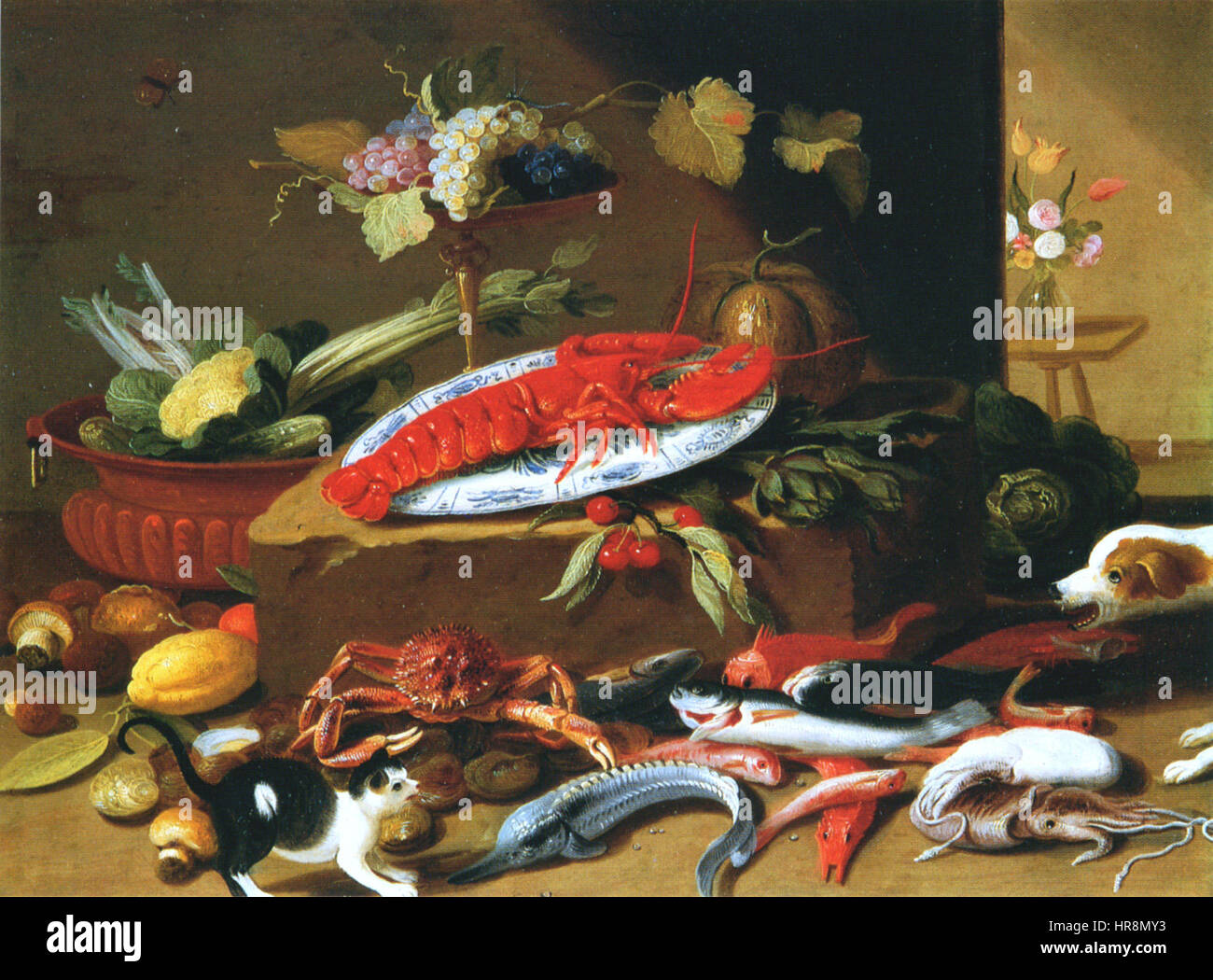 Studio of Jan van Kessel I - Fighting dog and cat with still life ...