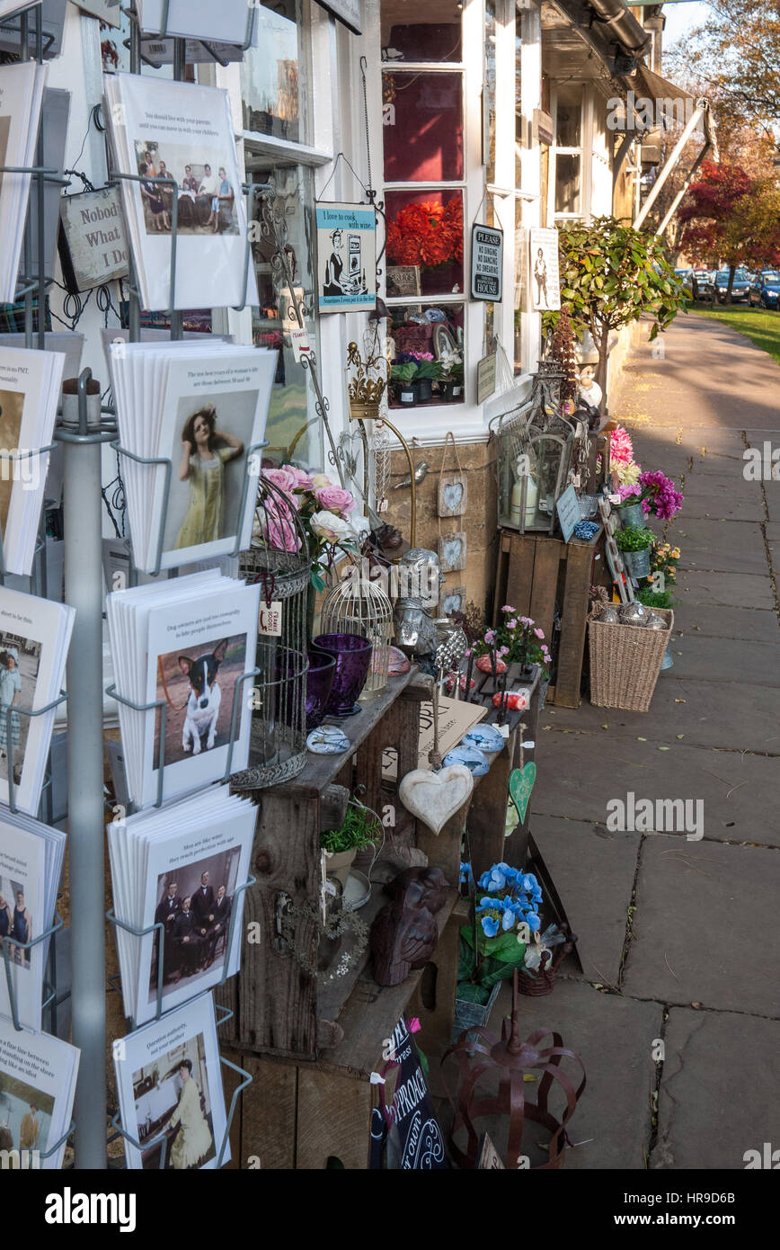 Village shop display of greetings cards and sundries on footpath village shop display of greetings cards and sundries on footpath chipping campden gloucestershire uk united kingdom gb great britain kristyandbryce Images
