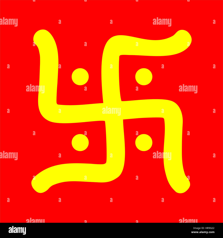 Yellow hindu swastika religious symbol over red stock photo yellow hindu swastika religious symbol over red biocorpaavc
