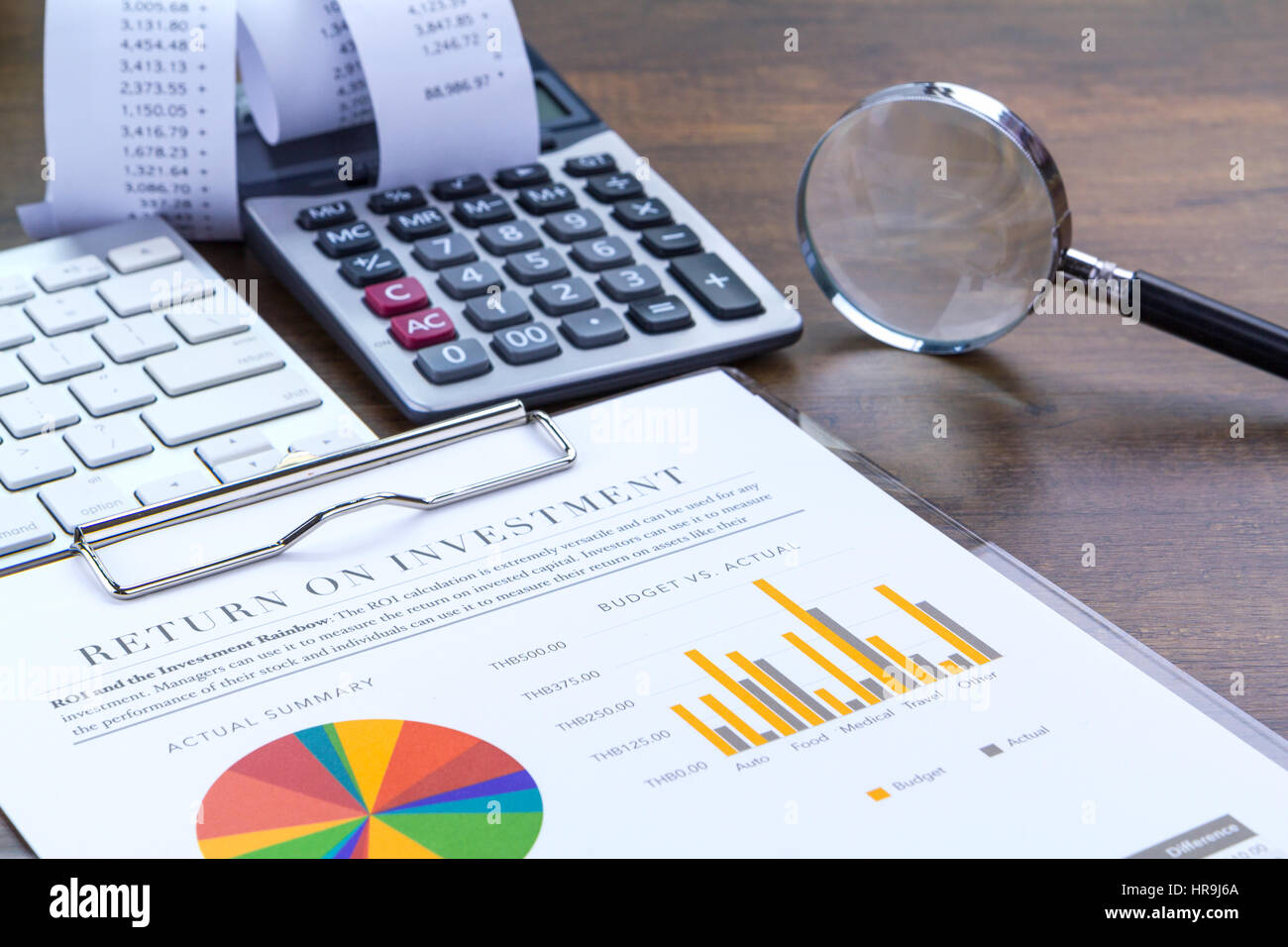 Return on investment analysis document with rainbow pie chart return on investment analysis document with rainbow pie chart graph nvjuhfo Image collections