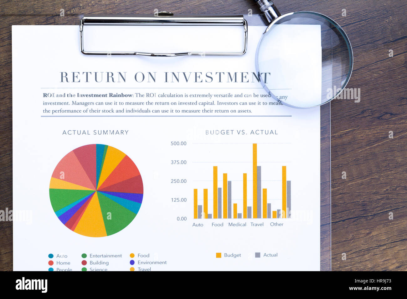 Return on investment analysis document with rainbow pie chart return on investment analysis document with rainbow pie chart graph and magnifing glass in flat layout top view nvjuhfo Image collections