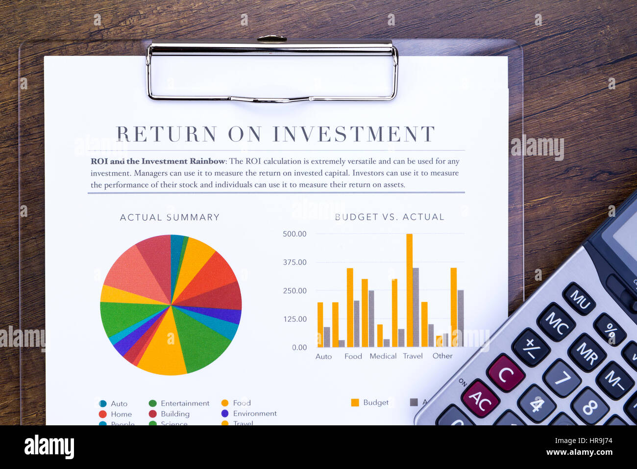 Return on investment analysis document with rainbow pie chart return on investment analysis document with rainbow pie chart graph and calculator in flat layout nvjuhfo Image collections