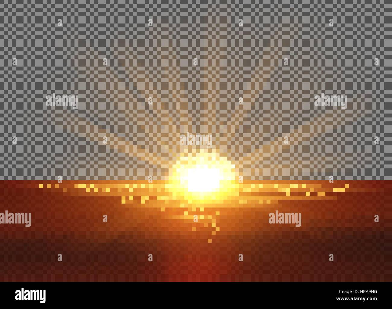 Vector Yellow Sun With Light Effects Setting Into The Sea Rays Hotspots