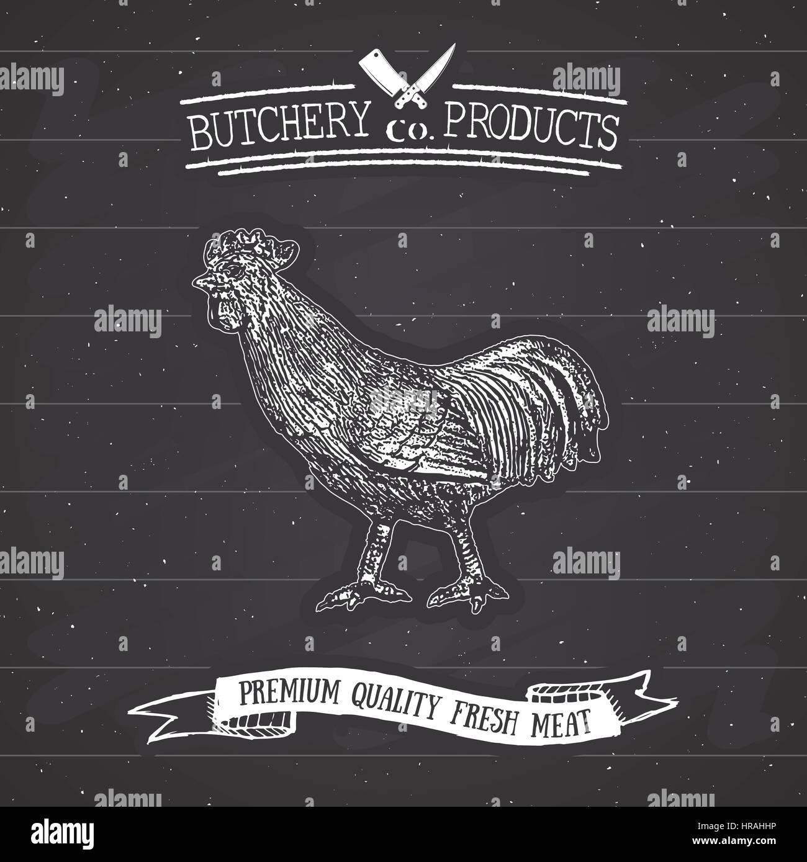 Butcher Shop vintage emblem rooster meat products, butchery Logo ...