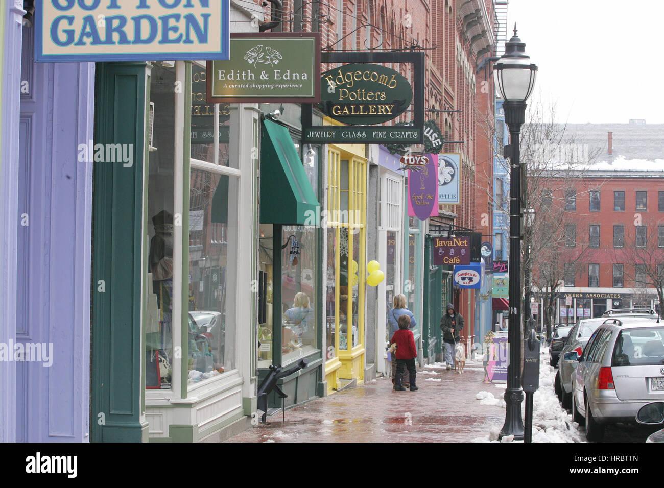 exchange street restored buildings shops portland maine new
