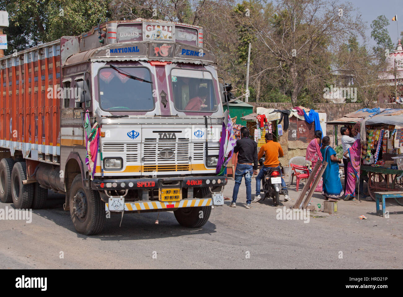 Scene at a rural truck stop in the central indian state of madhya pradesh there