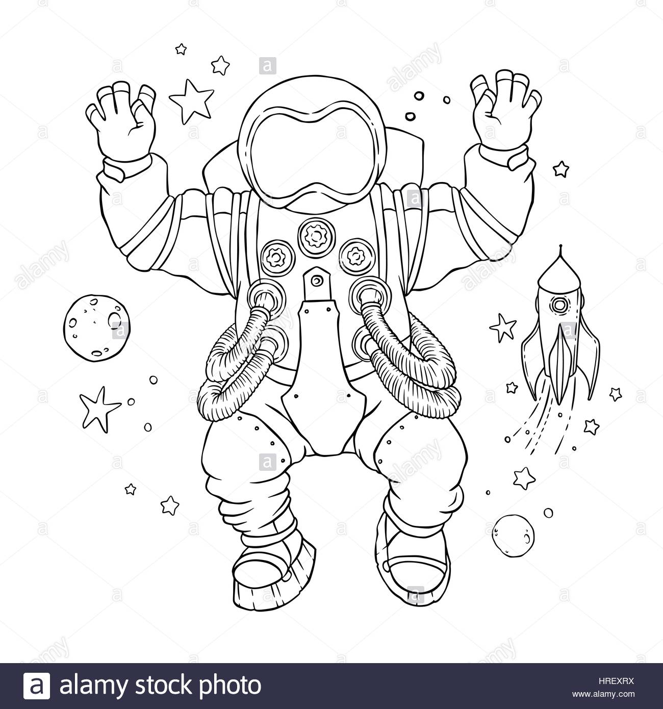 illustration of an astronaut in space suit and helmet with