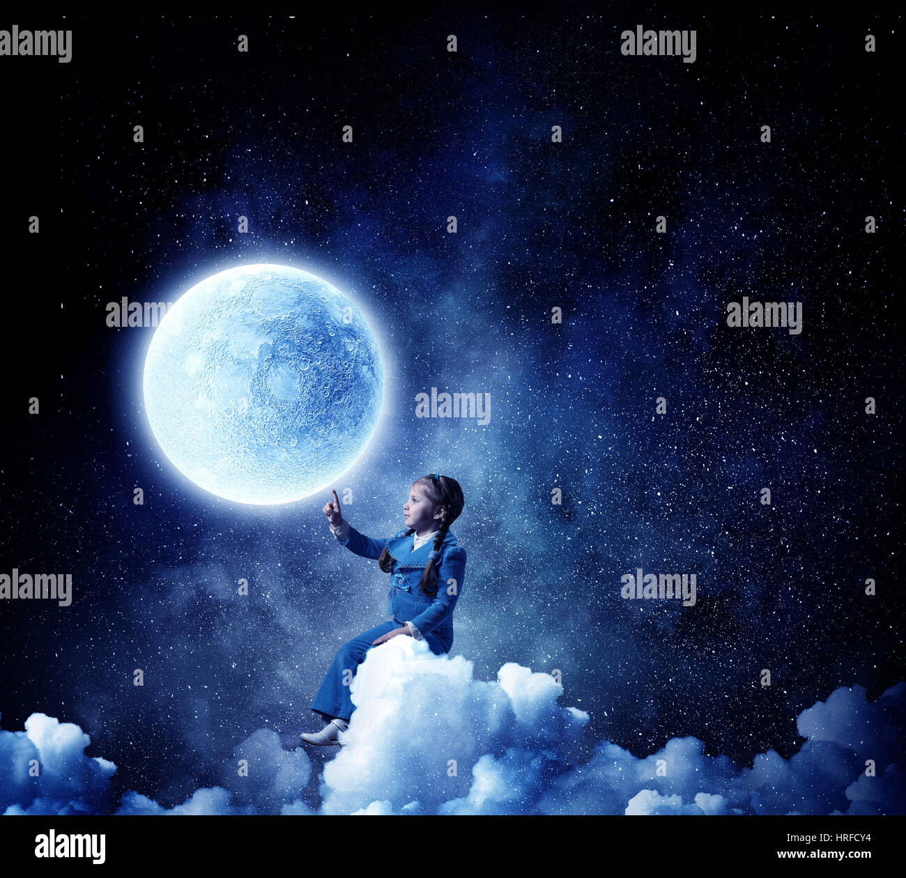 Kids at night with moon royalty free stock photography image - Silhouette Of Kid Girl Against Moon Planet In Night Sky Sergey Nivens Alamy Stock Photo