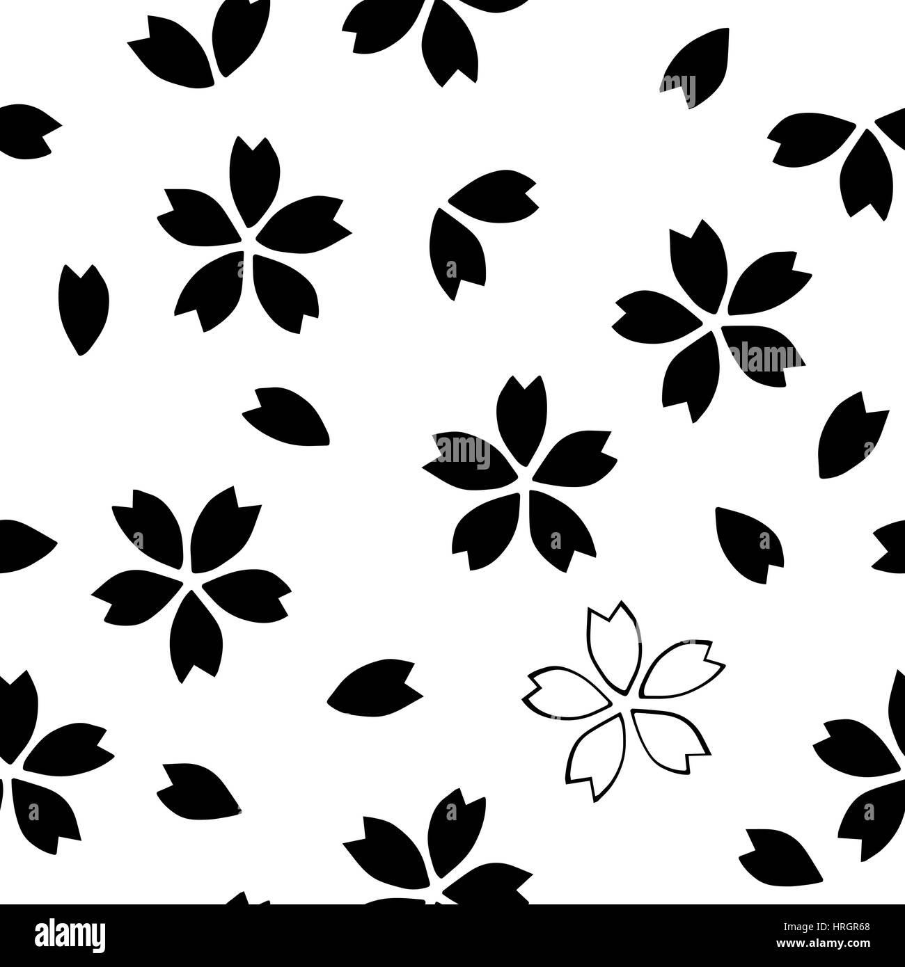 cherry blossom, black on white background. ethnic textile design