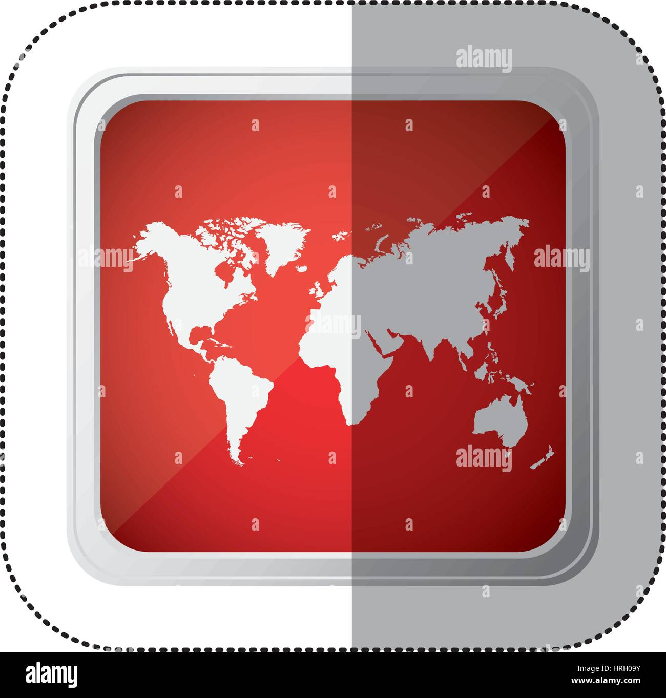 Sticker red square button with silhouette world map stock vector sticker red square button with silhouette world map gumiabroncs Images