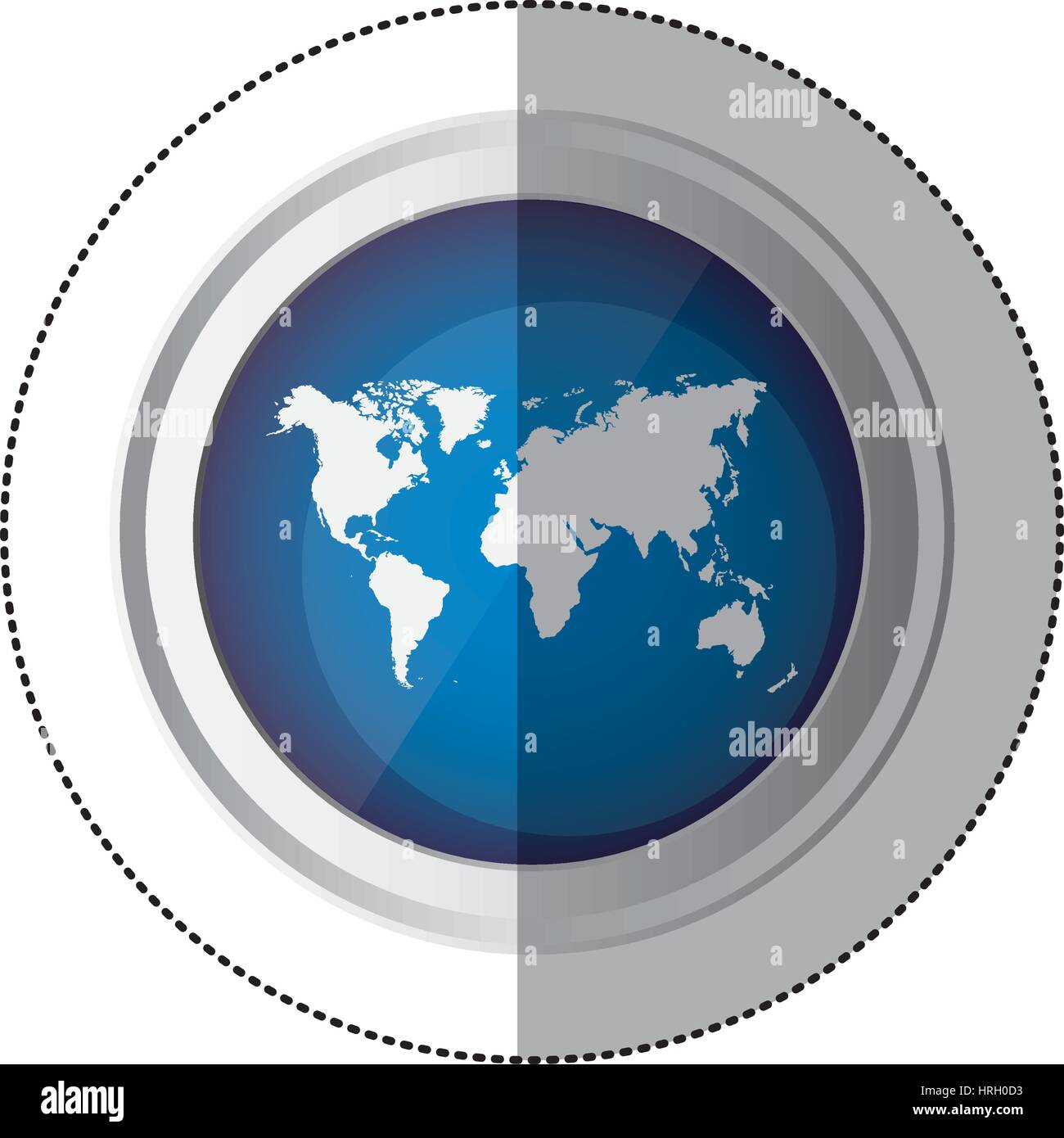 Sticker blue circular button with silhouette world map stock sticker blue circular button with silhouette world map gumiabroncs Images