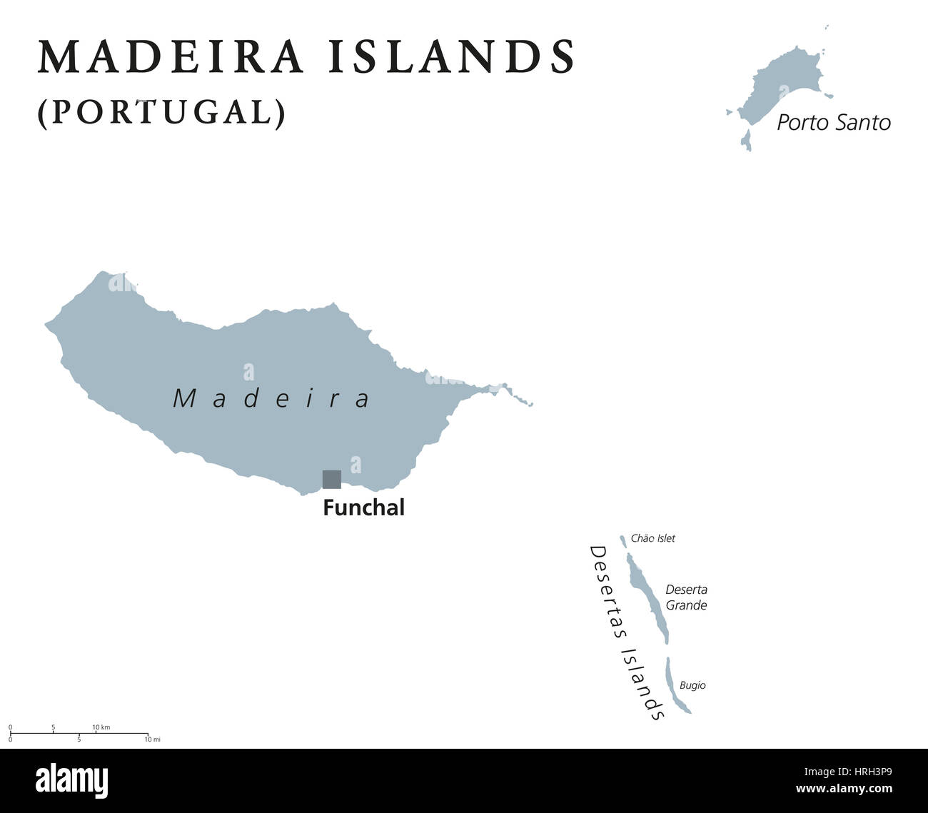 Madeira Islands Political Map With Capital Funchal Portuguese - Portugal map islands