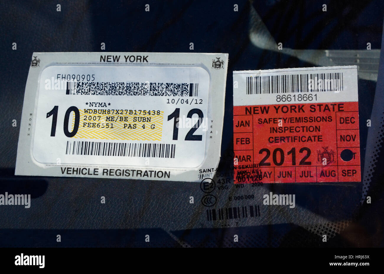 Vehicle Registration and Inspection Stickers