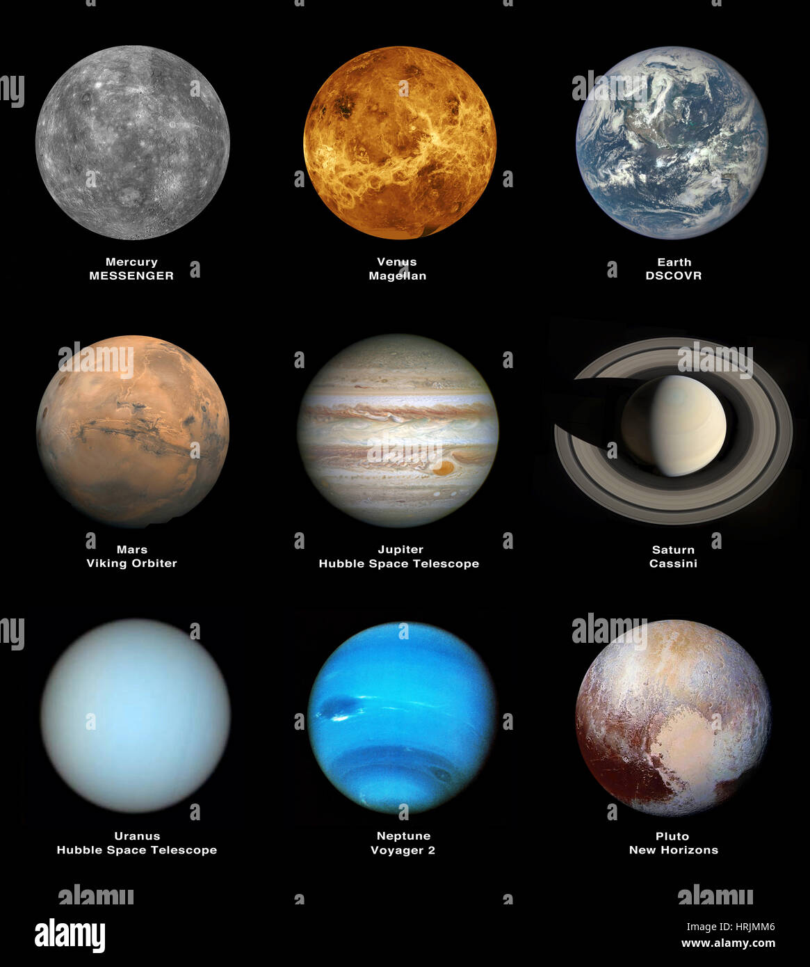 Planets Of The Solar System Including Pluto Stock Photo