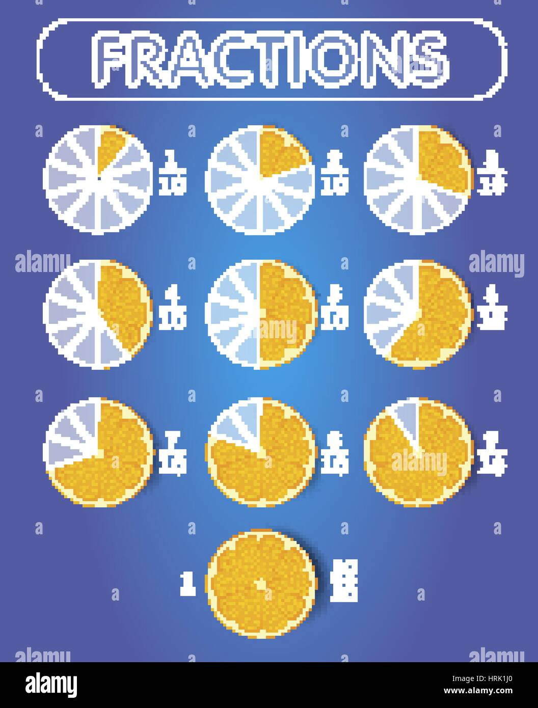 Pie chart fractions icon in the form of pieces of orange on top pie chart fractions icon in the form of pieces of orange on top set vector illustration geenschuldenfo Gallery