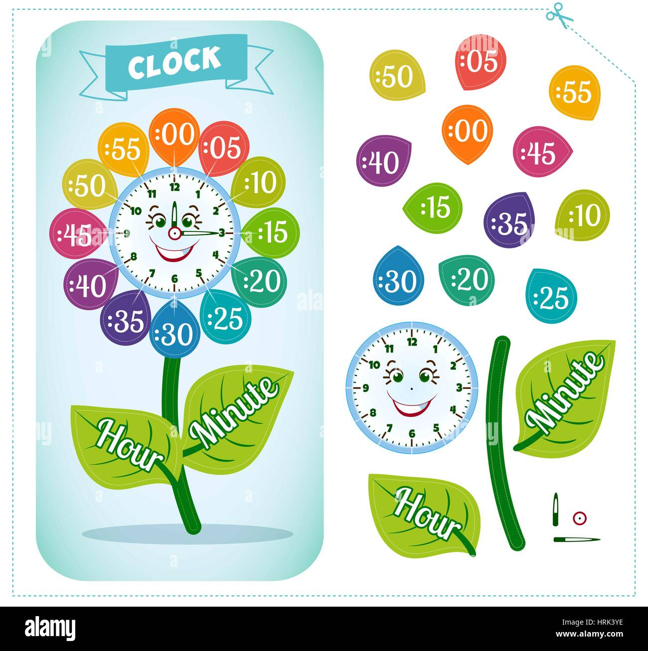 telling time worksheet for school kids to identify the time clock stock vector art. Black Bedroom Furniture Sets. Home Design Ideas