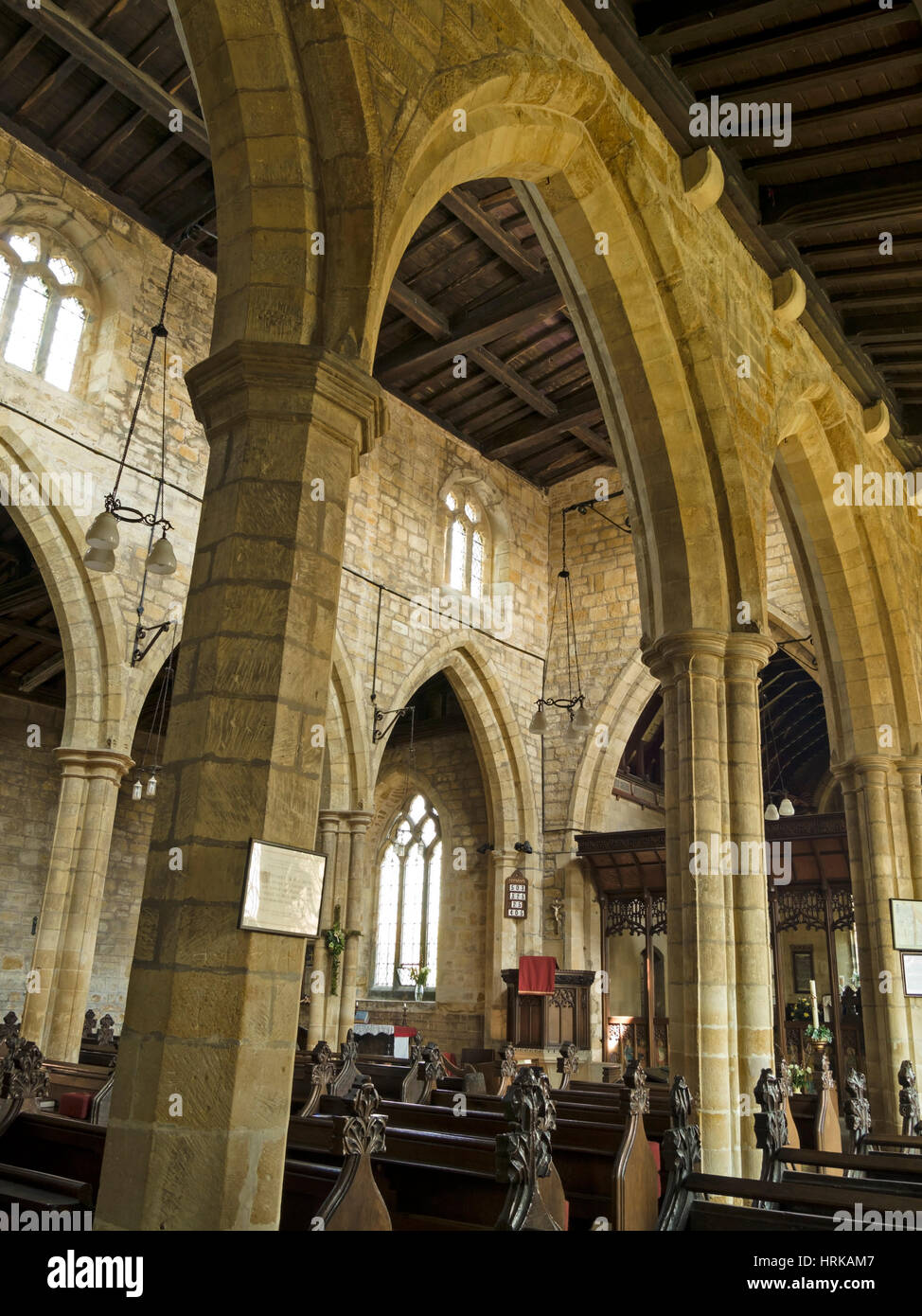 Gothic Arches And Stone Pillars Inside All Saints Church Hoby Leicestershire England UK