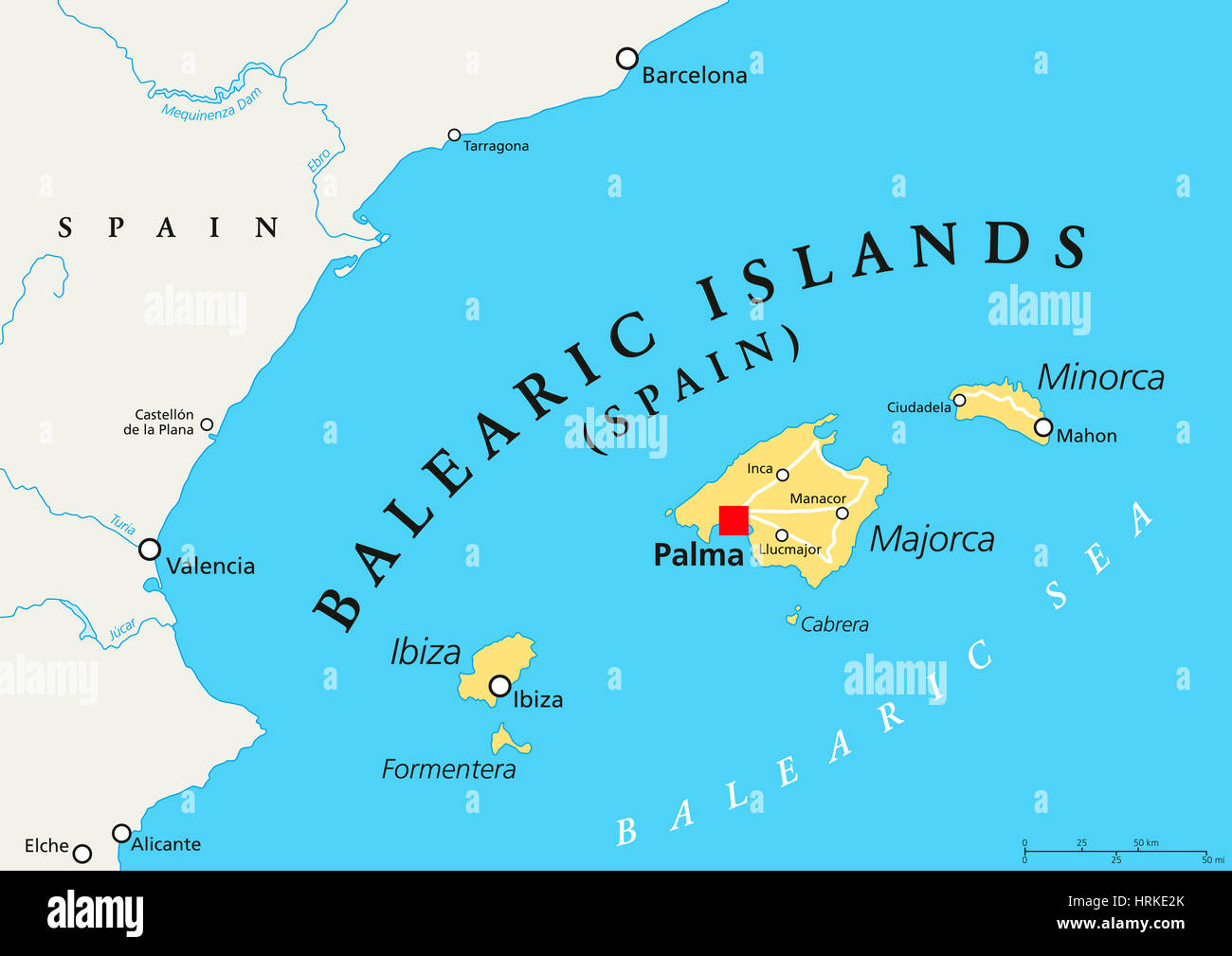 Balearic Islands Political Map With Capital Palma Archipelago Of - Spain political map