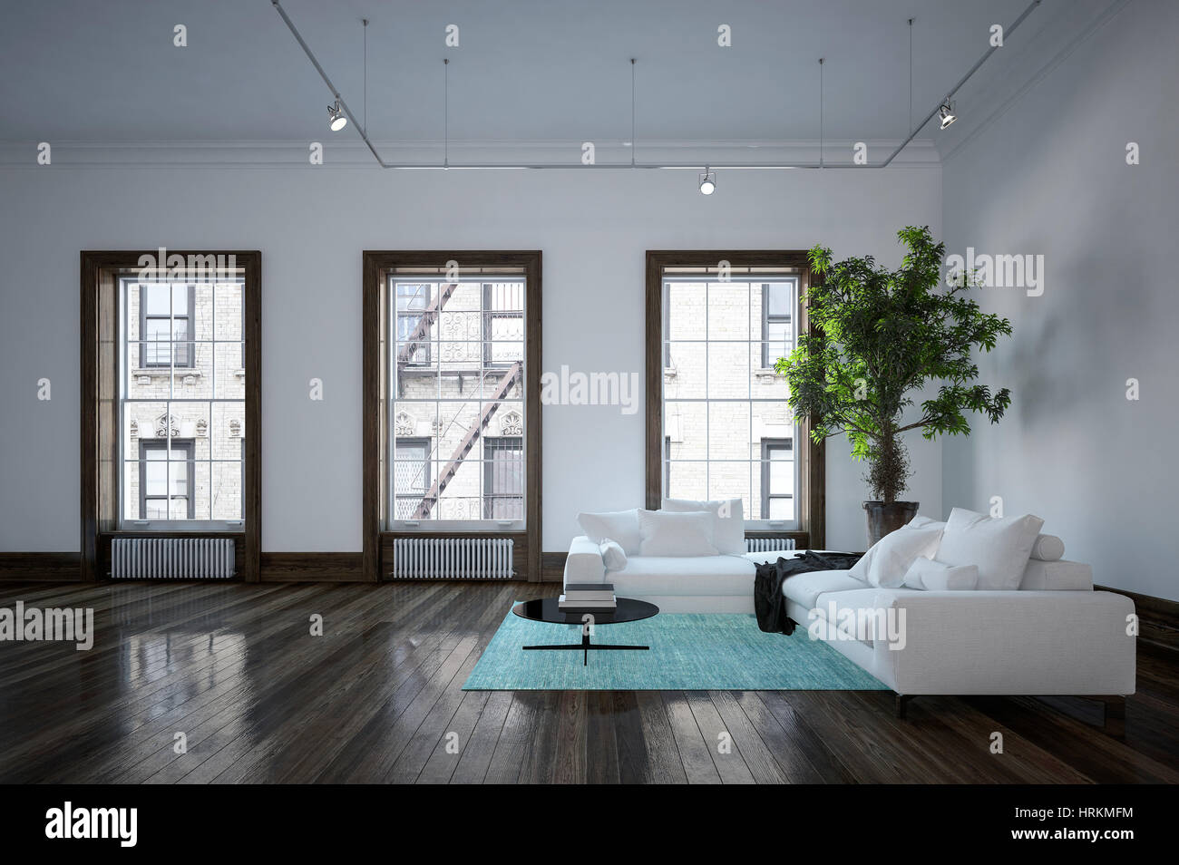 Minimalist Modern Urban Living Room Interior With Black And White Decor,  Corner Sofas On An Accent Green Rug And A Large Potted Plant In Front Of  Thre