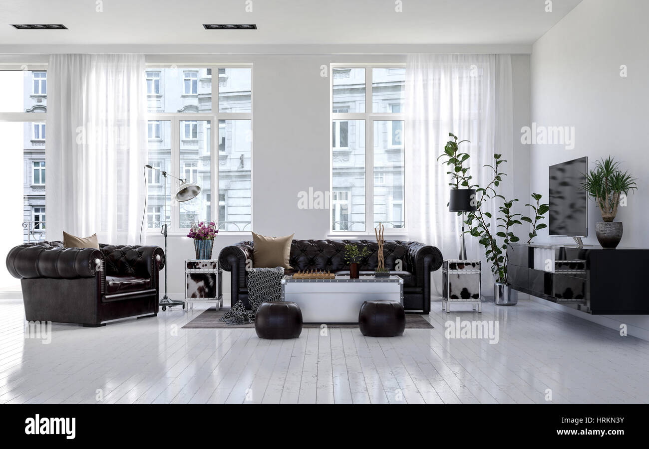 Large Classic Chesterfield Leather Lounge Suite In A Bright Monochromatic White Living Room With High Windows